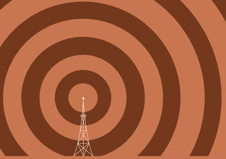 a broadcast tower with transmission waves Vector