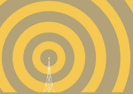 eine Broadcast-Übertragung Turm mit Wellen