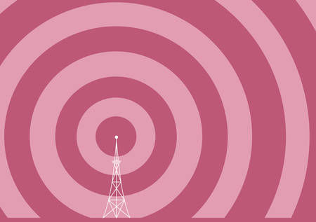telephone mast: a broadcast tower with transmission waves
