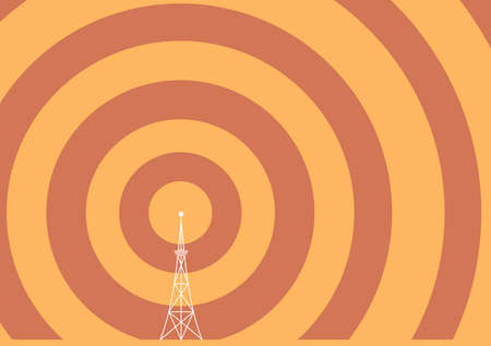 television aerial: a broadcast tower with transmission waves