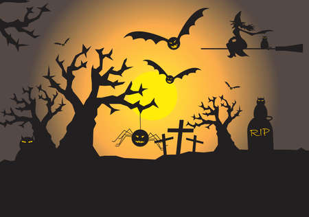 scary halloween scene with space for text Vector