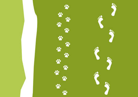 foot prints of a person and their dog on a beach  Vector
