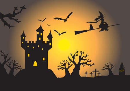 house illustration: spooky haunted house illustration