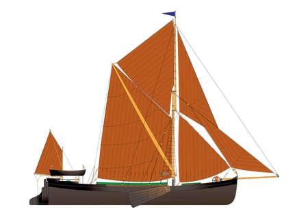 gaff: traditional thames sailing barge Illustration