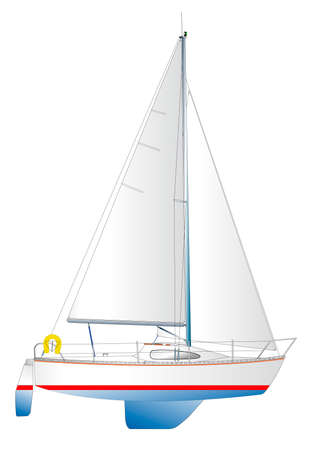 sailing vessel: illustration of a modern sailing yacht