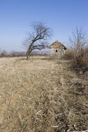 serbia landscape: traditional Serbian mud house in field