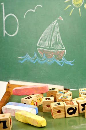learning to spell chalk board Stock Photo - 4031291