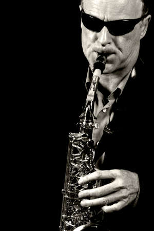 saxophone: jazz saxophone player black and white Stock Photo