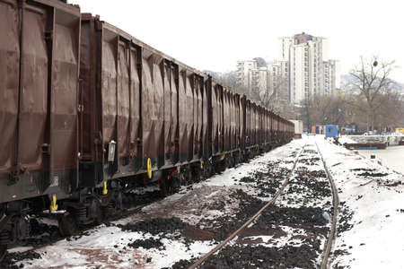 trains in freight yard winter Serbia photo