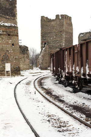 serbia landscape: trains in freight yard winter Serbia Stock Photo