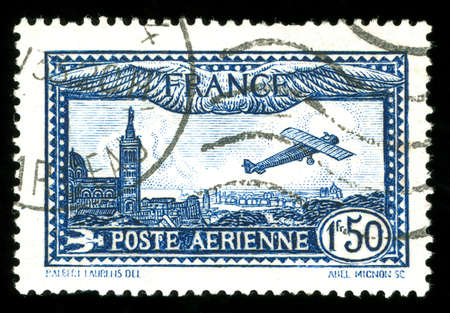 perforation: rare vintage French aircraft stamp from the art deco period Stock Photo