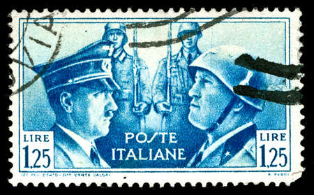 hitler: rare vintage 1930s Italian stamp depicting the dictators, Hitler and Mussolini