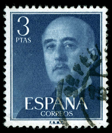fascism: vintage stamp depicting the dictator General Francisco franco of Spain who came to power after the Spanish civil war