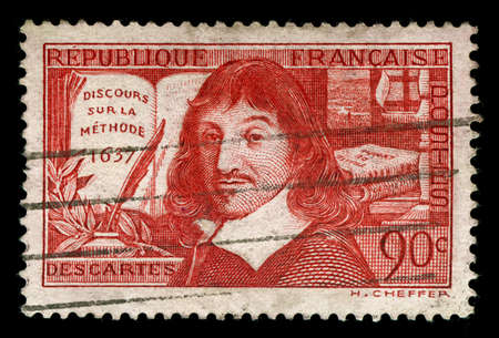 i am: vintage french stamp depicting Rene Descartes a famous mathematician and philosopher dubbed the father of modern philosophy his famous quote is, i think therefore i am