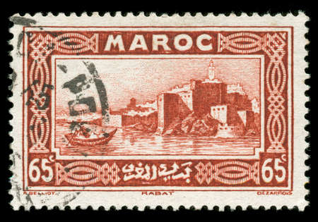 atlantic city: vintage Morocco stamp depicting the Capital city of Rabat on the Atlantic coast