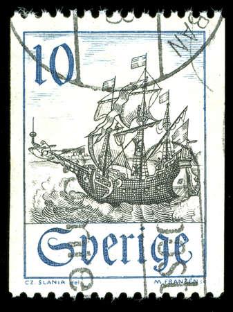 vintage stamp depicting a sailing ship under sail photo