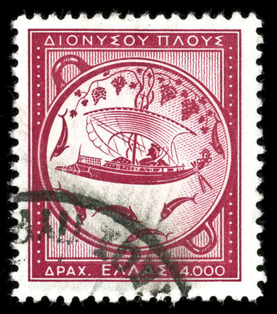 vintage stamp depicting ancient Greek sailing ship photo