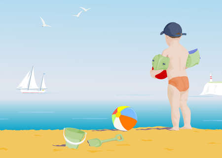 young boy on a beach watching a boat sail by Stock Photo - 4339438