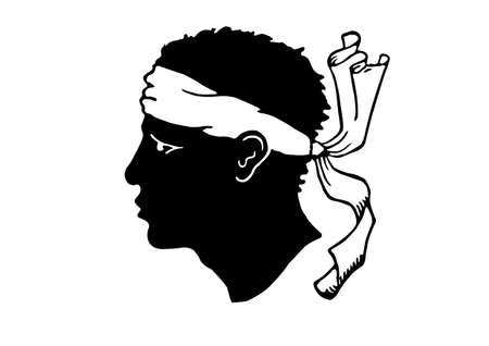 black moor: Moorish head with bandanna National symbol of the Island of Corsica, France