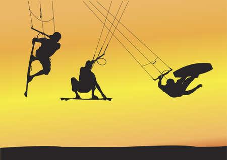 kitesurfen: Selectie van de kite boarding Ariel springen silhouetten, afzonderlijk gegroepeerd en volledig bewerkbare illustraties met zonsondergang achtergrond.
