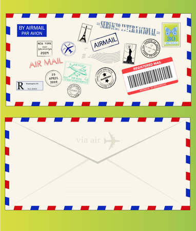 Air mail envelope with postal stamps, stickers and postmarks