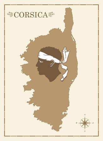 Alte Karte von Korsika Korsisch mit Emblem und Windrose, voll editierbar Vektor
