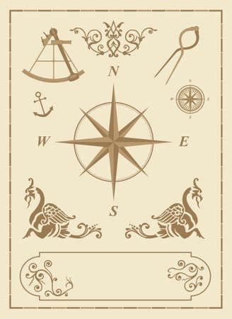 wind of rose: conjunto de los antiguos s�mbolos n�uticos y los iconos con elementos de dise�o cl�sicos mapa