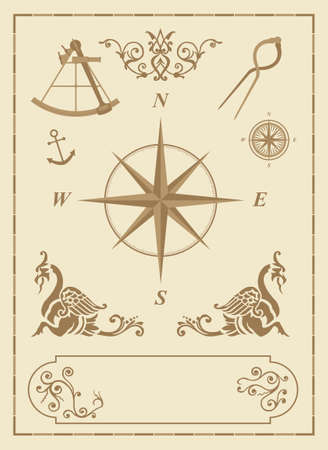 set of old nautical symbols and icons with vintage map design elements photo