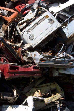 old rusting scrapped cars in a junk yard Stock Photo - 4985182