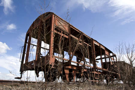 rusting: old abandoned rusting train and railway Stock Photo