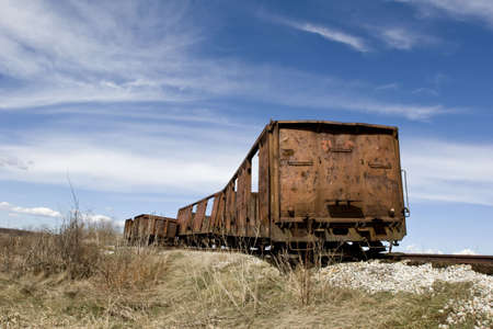 discarded metal: old abandoned rusting train and railway Stock Photo