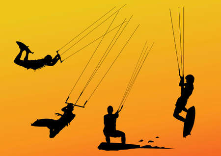 isolated silhouette of kite surfers riding and jumping Vektorové ilustrace