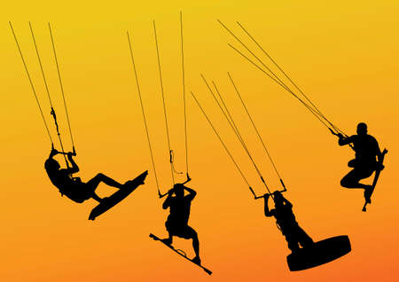 kite surf: isolated silhouette of kite surfers riding and jumping