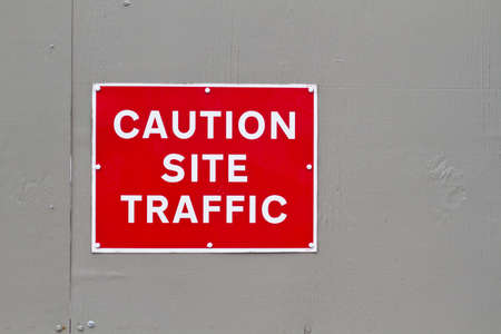 red and white caution site traffic warning sign Stock Photo - 8901102