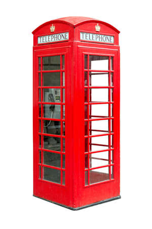 traditional British public phonebox, isolated on white background photo