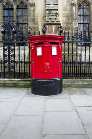 red post box: Traditional British red  Post box for mail collection Stock Photo