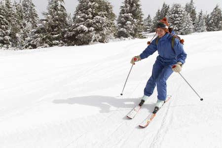 woman skiing on empty ski slope Stock Photo - 9311620