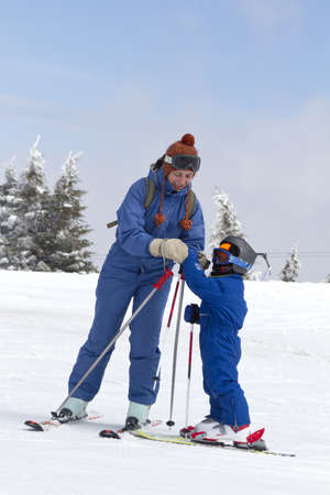 young child learning to ski photo