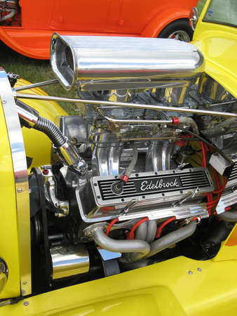 Yellow Streetrod with Supercharger Stock Photo - 19415042