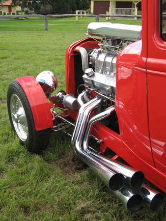 Red Streetrod with Supercharger Stock Photo - 19415071