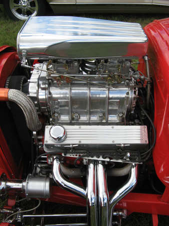 Red Streetrod with Supercharger Stock Photo - 19415041