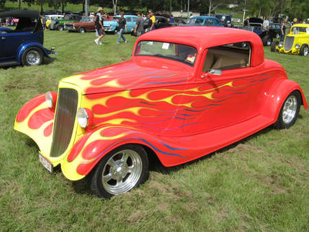 Red Streetrod with Yellow Flames