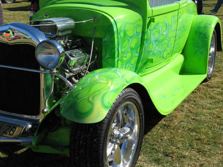 Green Streetrod with Blue Flames Stock Photo - 19415049