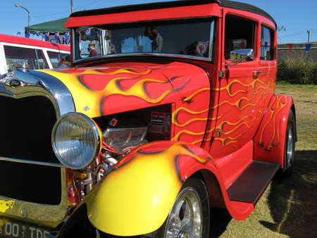 Red Hotrod with flames Stock Photo - 19415043