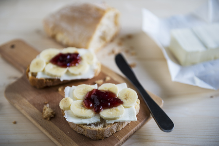 breackfast: bread, butter, banana and marmalade