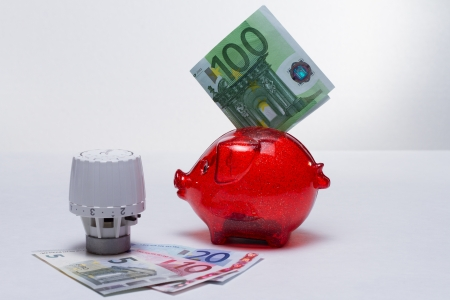 Thermostat with piggy bank and banknote