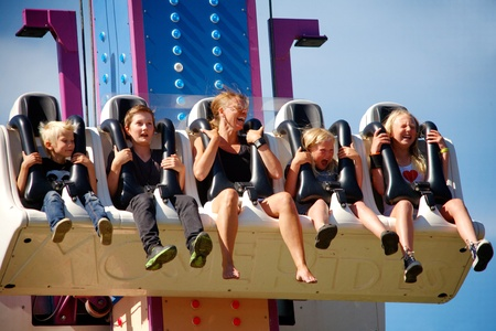 Adults and children use attratiktionen free fall at Tom Tits Experiment in Sodertalje, Sweden
