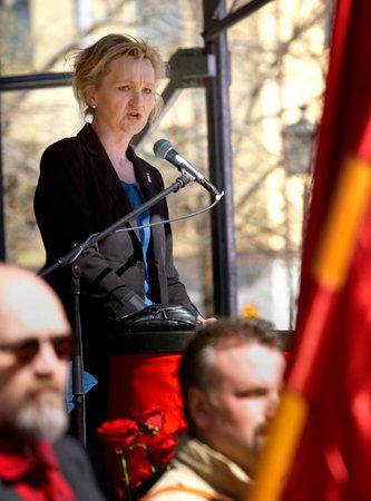 democrates: Boel Godner  leader of the Social democrates  in S?t?e, May 1 speech in S?t?e. 2012 05 01 May Day in Sodertalje, Sweden, 2012