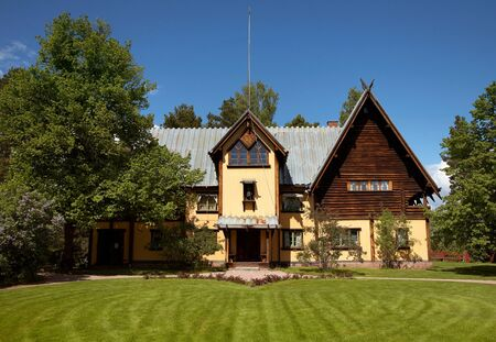 MORA, SWEDEN - JUNE 07, 2012: ZORN MUSEUM (Zorng?en), a log house which was the home of artist Anders Zorn and his wife Emma. The building is since 1942 a museum (Zorn Museum) dedicated to Anders Zorn and his work. Stock Photo - 14681682