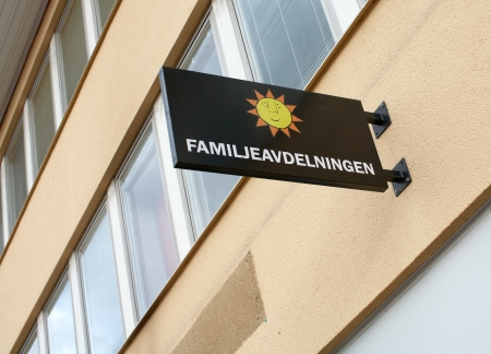karlstad: September 7, 2012: Karlstad, Sweden: Karlstad municipality, Family Division, signage and office building.  Editorial